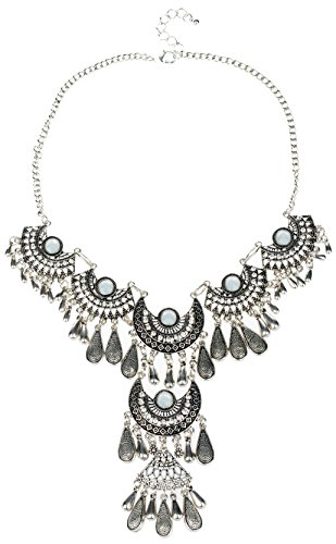 [Tagoo Women's Bohemian Style Hollow Out Pendant Acrylic Necklace(White)] (Cats Musical Halloween Costumes)