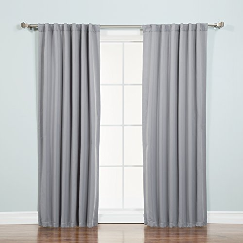 Tab Top Thermal Drapery - Best Home Fashion Thermal Insulated Blackout Curtains - Back Tab/Rod Pocket - Grey - 52