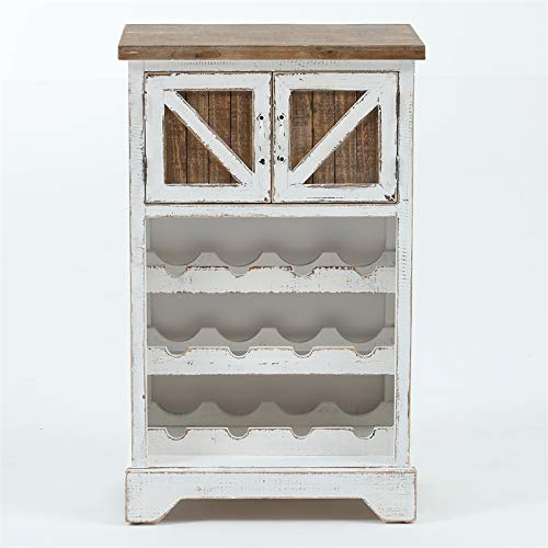 Pemberly Row White and Natural Wood Wine Cabinet by Pemberly Row
