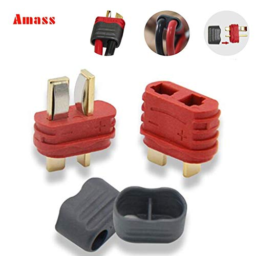 (Eaglers Connector - 5pair Amass 40a High Current New Slip Sheathed T Plug Deans Connector for Multi-axis Fixed-Wing Model Aircraft)