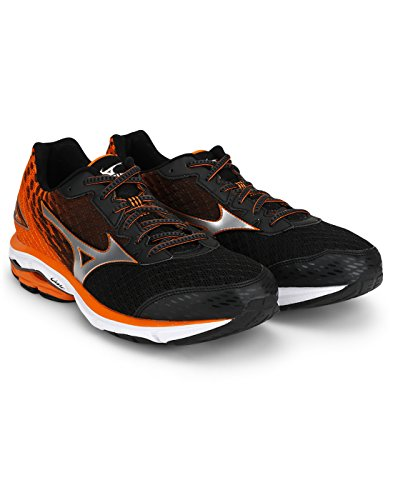 Mizuno Zapatilla Wave Rider 19 Black-Silver-Vibrant Orange Talla 9 UK