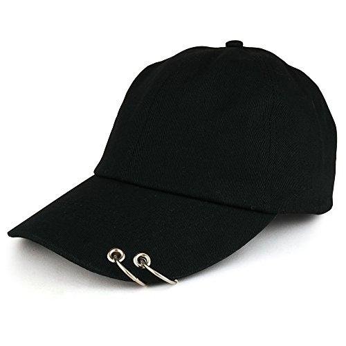 K-POP Style Plain Metallic Ring Bill Adjustable Baseball Cap - Black