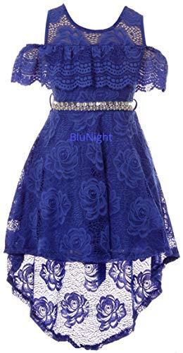 - Big Girls Off Shoulder Floral Lace Hi Lo Holiday Wedding Bridesmaid Flower Girl Dress Royal 14 (2J1K7S6)