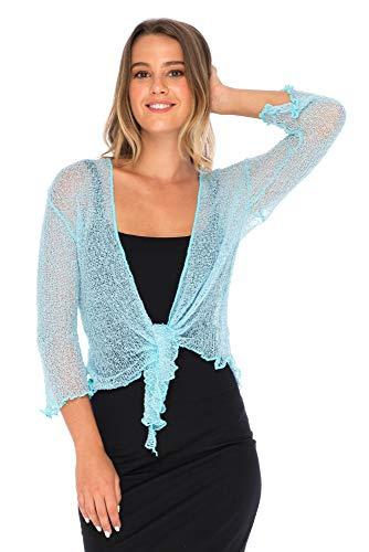 Back From Bali Womens Lightweight Knit Cardigan Shrug Lite Sheer Powder Blue