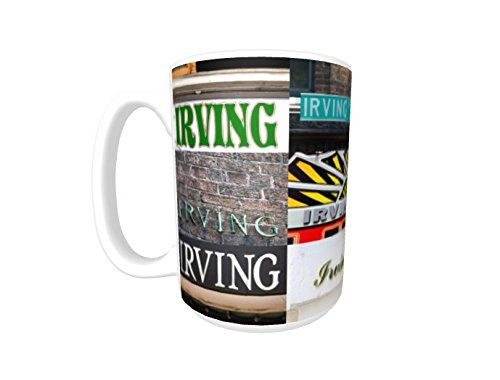 - IRVING Coffee Mug / Cup - using photos of real name signs - personalized