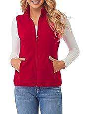 Fuinloth Women's Fleece Vest, Polar Soft Sleeveless Classic Fit with Zip up Pockets