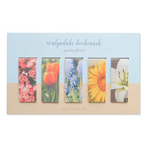 Monolike Magnetic Bookmarks Garden Flower, Set of 5 (Magnetic Flower Bookmarks)