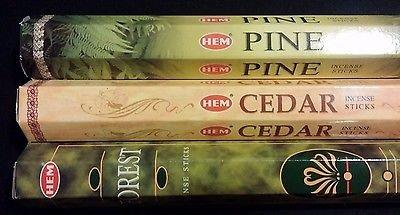 WOODS OUTDOORS Pine Cedar Forest 60 HEM Incense Sticks 3 Scent Sampler Gift Set