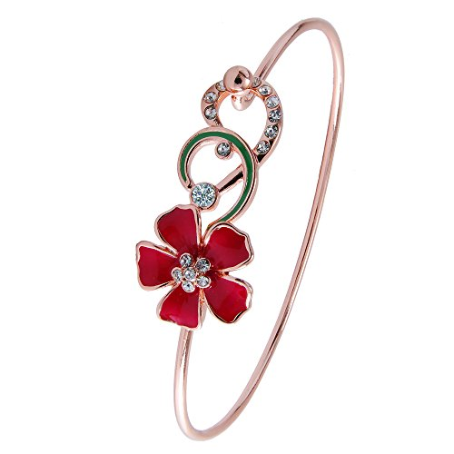 Green Rose Gold Bracelet (TUSHUO 3 Colors Enamel Red Flowers Green leaf Love Open Bangle Flower Bracelet for Women and Girls (Rose Gold))
