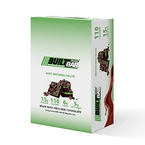 Built Bar 18 Pack Energy and Protein Bars – 100% Real Chocolate – High in Whey Protein and Fiber – Gluten Free, Natural Flavoring, No Preservatives (Mint Brownie)