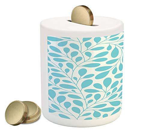 Ambesonne Leaves Piggy Bank, Monochromatic Lush Foliage Feminine Nature Pattern Spring Season Illustration, Printed Ceramic Coin Bank Money Box for Cash Saving, Aqua and White ()