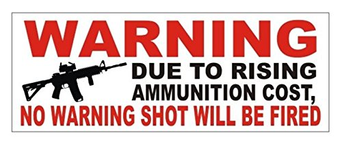 1 Pc Important Unique Warning Due To Rising Ammunition Cost No Shot Will Be Fired Gun Control Window Sticker Laptop Funny Security Sign Vinyl Stickers Decor Size 3