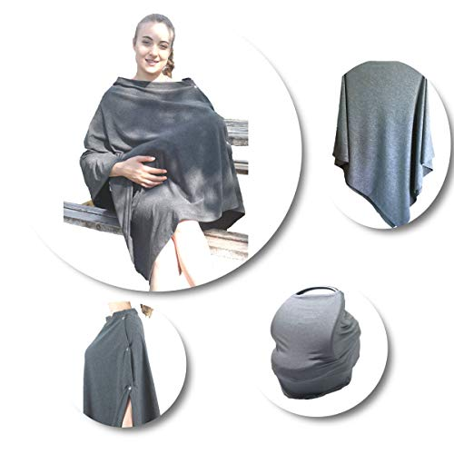 Bece Baby Breastfeeding and Nursing Cover Multi Use Car Seat Canopy Stroller Cover for Girls and Boys Also Use As Soft Breathable Scarf and Poncho (Nursing Cover That Covers Front And Back)