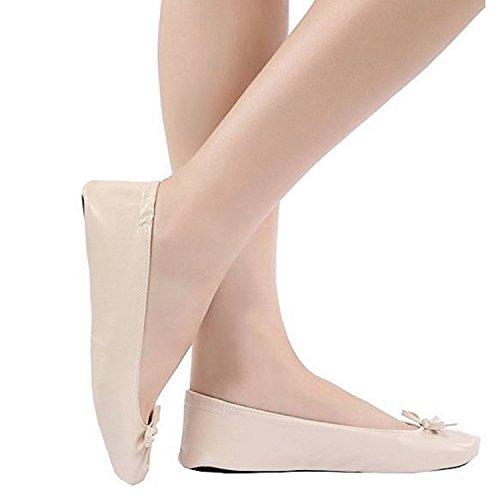faltbare Schuhe für die Handtasche Damen Schuhe mit Tragetasche falten. Größe eu 36 37 Beige tragbare Reise Schuhe