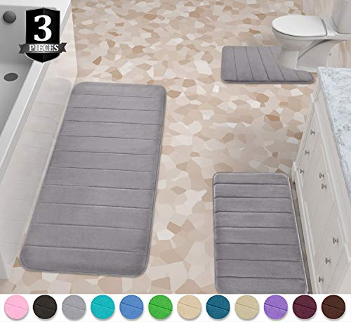 Yimobra 3 Pieces Memory Foam Bath Mats Set, XL, L and U-Shaped Size for Bathroom or Bedroom Rugs, Tub, Contour Toilet Mats, Non-Slip, Soft Comfortable, Maximum Absorbent, Machine Washable, Gray (Bath Mat Memory Foam)