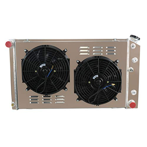 CoolingCare 3 Row Aluminum Radiator+ Shroud+ 2x12'' Fan for Chevy Caprice/Oldsmobile Cutlass Supreme 1979-88/34