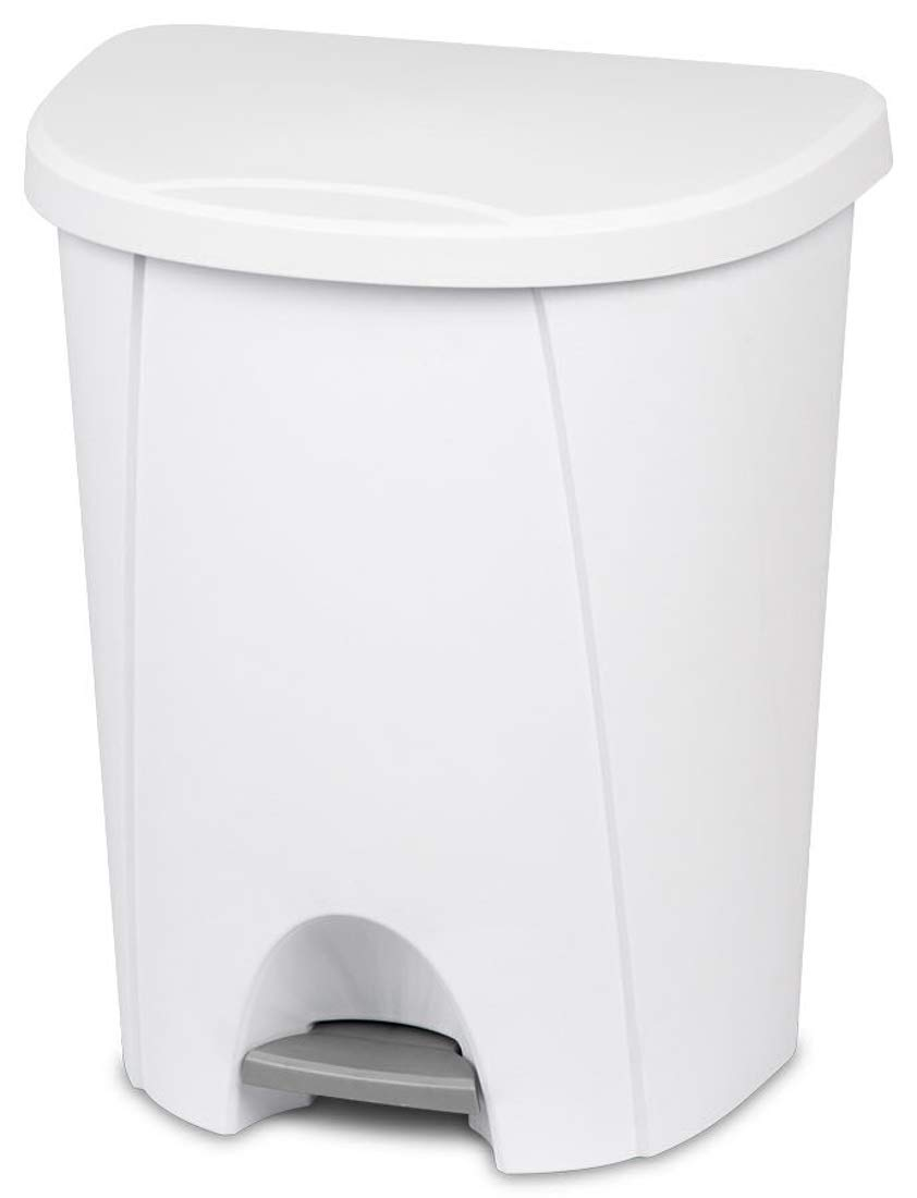 LavoHome Heavy Duty Sturdy 6.6 Gallon/25 L Capacity Step on Access Waste Basket Trash Can Recycle Bin with Lid Solid Color for Home Kitchen Office Janitorial Residential Industrial-White (1)