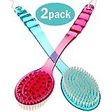 Bath Blossom Brush Back Scrubber (2 Pack) - Shower Plastic Bath Brush Double Sided - Massage Cellulite Brush - Suitable for Men and Women 36 * 7.5 * 3CM