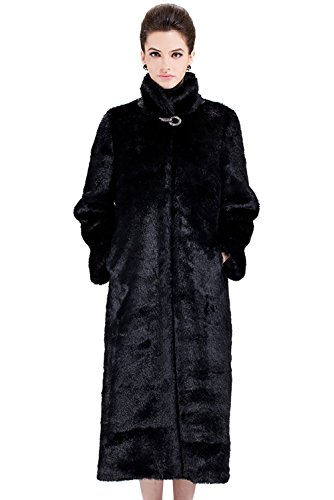 Adelaqueen Women's Black Elegant and Vintage Outerwear Mink Fabulous Faux Fur Coat Size (Black Mink Fur Coat)