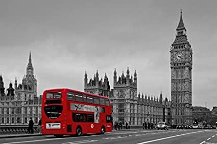 Black and white london with red bus canvas wall art for home and office decorations