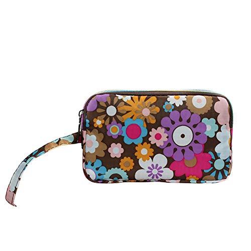 Mosichi Women Floral Print Cloth Wristlet Bag Coin Purse Zipper Wallet Cell Phone Pouch