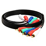 CMPLE 5-RCA Male to 5RCA Male RGB Component Audio Video Cable for HDTV - Gold Plated RCA to RCA - 3 Feet, Black