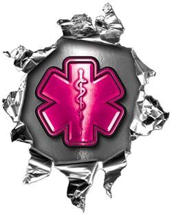 REFLECTIVE Mini Rip Torn Metal Bullet Hole Style Graphic Decal / Stricker with Pink EMS EMT MFR Paramedic Star of Life