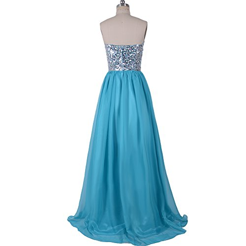 VILAVI A-line Strapless Beaded Chiffon Long Prom Dresses 2 Jade Blue