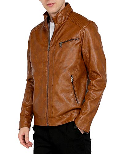 (WEEN CHARM Mens Leather Jacket Stand Collar PU Faux Motocycle Jacket Brown)