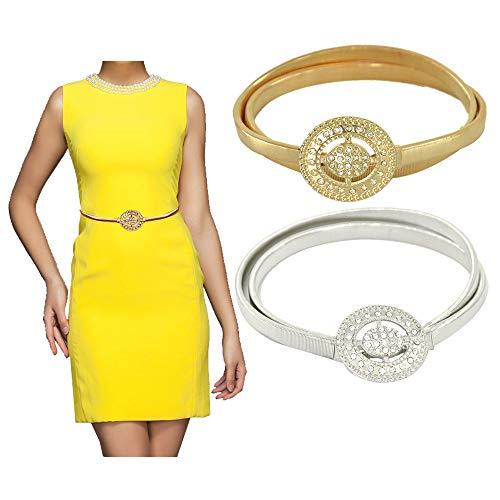 - Skinny Waistband for Dress,VITORIA'S GIFT Womens Fashion Metal Stretch Waist Skinny Belt Waistband(2pcs) (Silver&Golden Rhinestone)