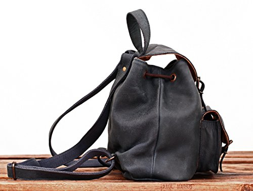 dos à petit Bleu couleur vintage LE sac BAROUDEUR cuir MARIUS PAUL style Pétrole en wXqYXxTB