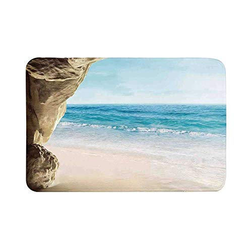 (C COABALLA Natural Cave Decorations Durable Door Mat,Image of Anasazi Ruins with Dramatic Sky National Park USA Ancient Sandstone for Living Room,17.7