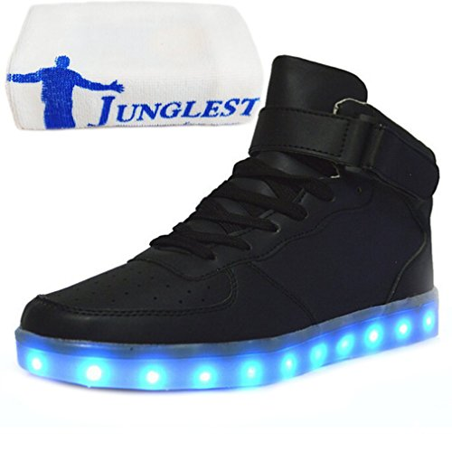 (Present:small towel)JUNGLEST® 7 Colors Led Trainers High Top Light Up S Black