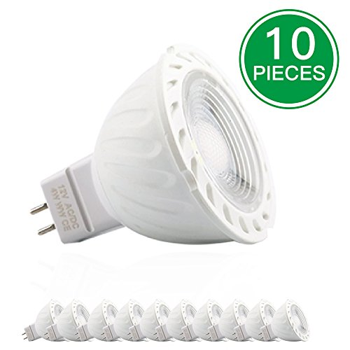 GU5.3/MR16 4W LED Bulb,40W Equivalent,Cool White 6000K,320LM,12V AC/DC,45 Beam Angle,Ultra Bright Energy Saiving Spotlight,LED Lamp for Recessed Lighting Track Light,Pack of 10