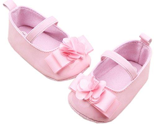 Smile YKK Schleife Blume Deko Ballet Stil Baby-Mädchen Lauflernschuhe 13 Rosa Pink