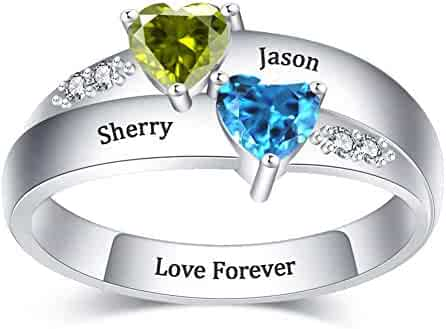 Personalized Sterling 2 Hearts Birthstone Anniversary Custom Engraved Ring 1