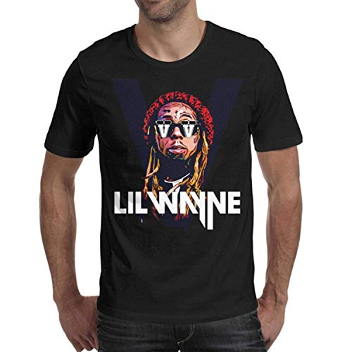 Hedong lion Mens Lil-Wayne-Logo-White- Cotton Short Sleeved Tee Shirts