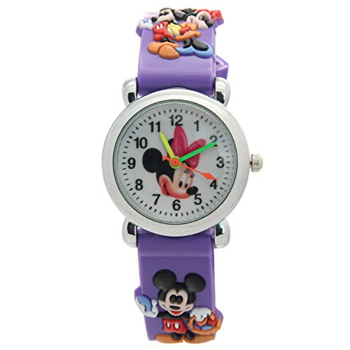 (Disney Purple Analog Cartoon Watches Mickey and Minnie Mouse Pattern)
