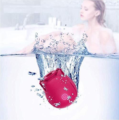 Tragbares Massagegerät, Saugvibrator, leistungsstarker Saugnapf für Frauen zur Stimulierung von Spielzeug, wasserdichtes und leises USB-Laden mit Silikonstruktur (Rot)