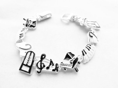 [Icon Collection Silver - Plated Piano Musical Instrument Bracelet] (Orchestra Conductor Costume)