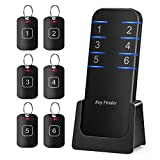 Key Finder Locator Item Tracker - Anti-Lost Wireless RF Smart Wallet Tracker 1 Transmitter 6 Receivers Support Remote Control Alarm Reminder 95db Sound Perfect for Purse Glasses Pet Phone Car Keychain
