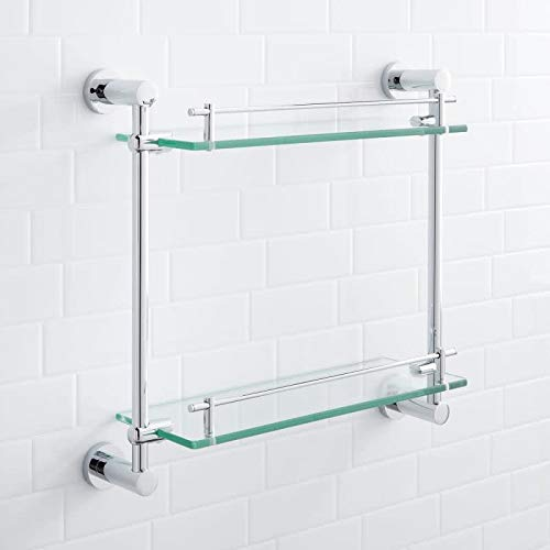 Signature Hardware 296466 Ceeley 17'' Two-Tier Glass Shelf