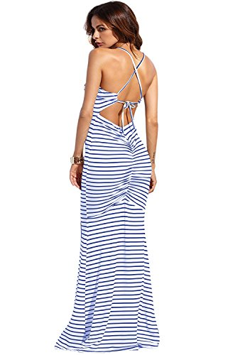SheIn Women's Strappy Backless Summer Evening Party Maxi Dress Large Blue