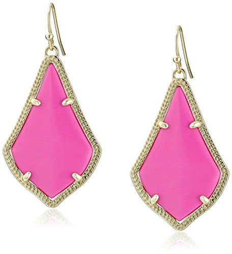 Earrings New Style Latest Fashion (Kendra Scott Signature Alex Gold Plated Magenta Colored Magnesite Drop Earrings)