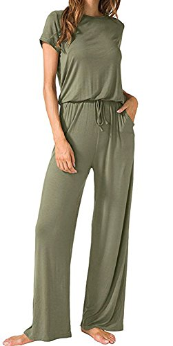 Casual Short Sleeve Elastic Waist Wide Legs Long Jumpsuit for Women Army M by Aro Lora