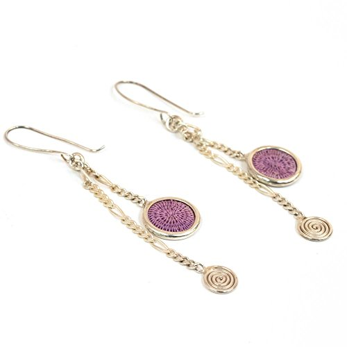 Fair Trade Sisal and Alloy Mini Classic Disk Bezel Earrrings w/Hanging Spiral, Lilac, SJE58LL by Baskets of Africa