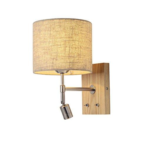 Hongteng Lighting Lámpara de Pared de Madera sólida de Lectura de cabecera de LED nórdico Moderna para la iluminación del...