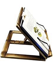 Wooden Book Stand Reading Rest Cook Book Document Stand Holder Bookrest - Carbonized Wood with Steel Tip