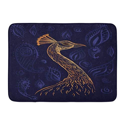 qingqing-us Bath Mat Animal Sketch Book Page Bird Paradise Phoenix Gold Head Peacock on The Dark Blue Watercolor Bathroom Decor Rug 15.7