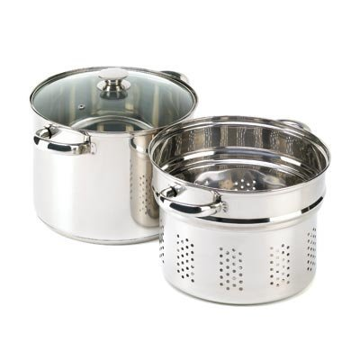 Boiling Pan (VERDUGO GIFT Stainless Pasta Cooker Stock Pot Strainer Lid Set, 8)